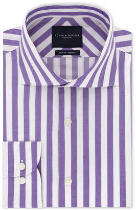 Tommy Hilfiger Men Slim-Fit Non-Iron THFlex Supima Stretch Bold Stripe Dress Shirt