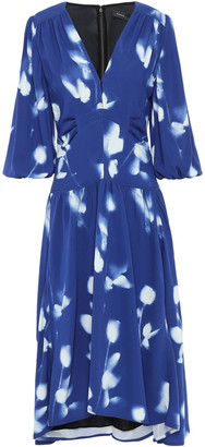 Proenza Schouler Floral-print Gathered Crepe Midi Dress