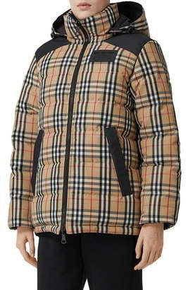 Burberry Newbattle Reversible Vintage Check Down Puffer Coat