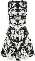 Karen Millen Floral Jaquard Knit Dress - Black & White