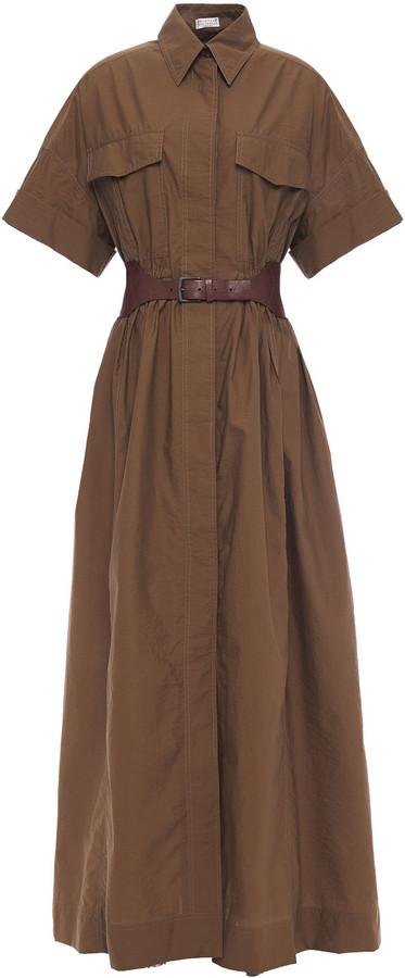 Brunello Cucinelli Belted Crinkled Cotton-blend Poplin Maxi Shirt Dress