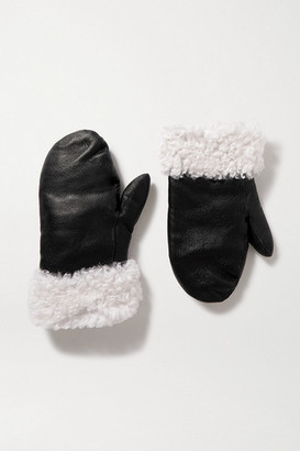Yves Salomon Shearling-trimmed Leather Mittens - Black