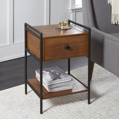 Foundry Select Jordy Farmhouse Industrial Bedside 1 Drawer Nightstand Shopstyle