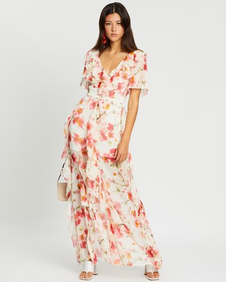 Missguided Floral Ruffle High-Low Maxi Dress
