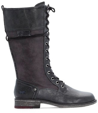 Mustang Faux Leather Lace-Up Calf Boots