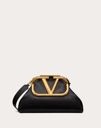 Valentino Oversize Supervee Nappa Clutch Women Black Lambskin 100% OneSize