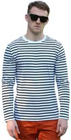 uxcell Allegra K Men Crew Neck Long Sleeves Striped T-shirt White S