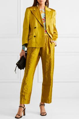 Dries Van Noten Bounty Double-breasted Belted Metallic Faille Blazer - Mustard
