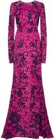 Oscar de la Renta Floral Lace Appliqué Long Sleeved Gown