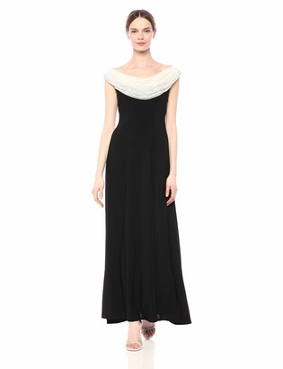 Cachet Women's Beaded Cowl Neck Long Gown