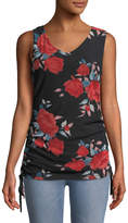 West Kei Rose-Print Side-Ruched Tank Top