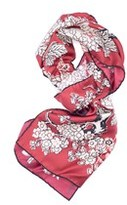 Valentino Women's Red Printed Floral Silk Scarf.