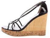 Prada Patent Leather Bamboo Wedge Sandals
