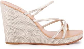 Dolce Vita Naya Metallic Leather Platform Wedge Sandals