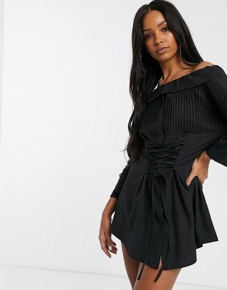 Saint Genies corset front oversized shirt dress in black