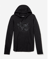 Express slub lightning skull hooded graphic t-shirt