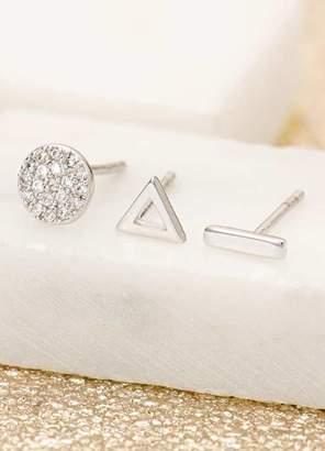 Mint Velvet Silver Dot Dash Stud Earrings Set
