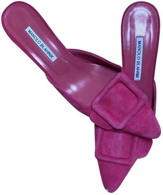 Manolo Blahnik Maysale Pink Suede Mules & Clogs