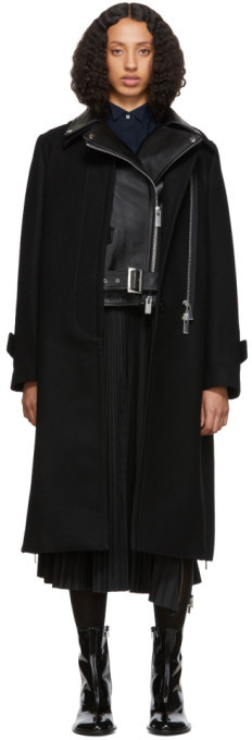 Sacai Black Melton Wool and Leather Convertible Trench Coat