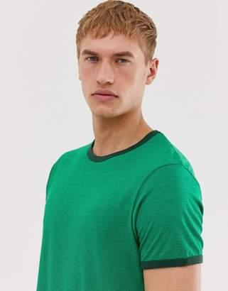 Brave Soul ringer tshirt-Green