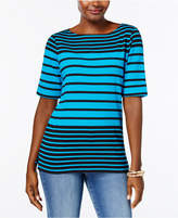 Karen Scott Cotton Striped Top, Created for Macy's