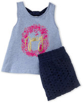 Juicy Couture Infant Girls) Two-Piece Blue Graphic Tank & Navy Eyelet Shorts