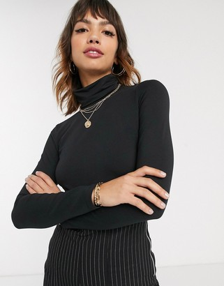 Esprit basic roll neck top in black