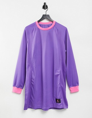 Jordan long sleeve dress in purple with pink neckline and cuffs