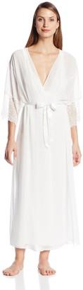 Cinema Etoile Women's Satin Robe Ivory X-Large