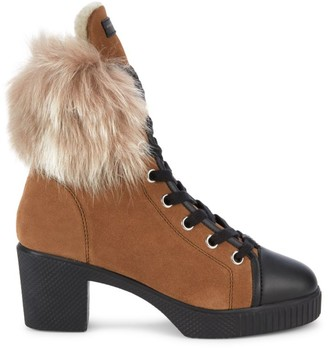 Giuseppe Zanotti Shearling-Trimmed Suede Combat Boots