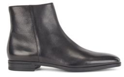 HUGO BOSS Zipped Ankle Boots In Vegetable Tanned Leather - Black
