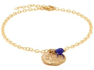 Ancient Greek Sandals Wing-embossed Charm Chain Anklet - Womens - Blue