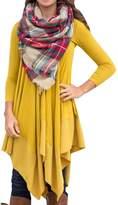 Canis Womens Asymmetrical Casual Feminine Long Sleeve Tunic Shirt Dress (Asian Size XL(US L), )