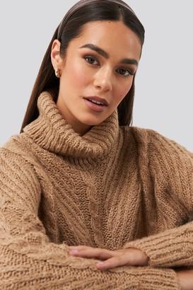 BEIGE Trendyol Turtleneck Long Knitted Sweater