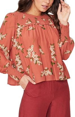 Lost + Wander Champagne at the Palace Floral Print Blouse