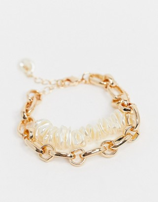 Asos DESIGN multirow bracelet with faux pearls and open link chain in gold tone