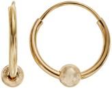 Charming Girl 14k Gold Bead Hoop Earrings - Kids