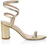 Stuart Weitzman Merinda Ankle-Wrap Metallic Leather Sandals