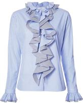 Tome 'Thin Stripe Longsleeved Ruffled' shirt - women - Cotton - 0