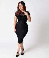 Stop Staring Plus Size 1940s Style Black Swiss Dot Mesh Twilight Wiggle Dress