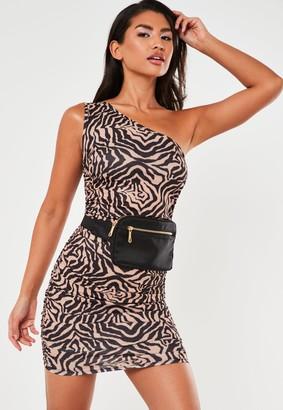 Missguided Taupe Zebra Print One Shoulder Mini Dress