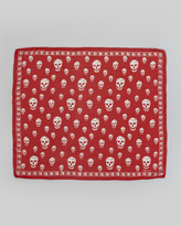 Alexander McQueen Skull Chiffon Scarf, Flame/White