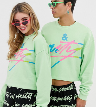 Asos Design DESIGN x glaad& unisex cropped sweatshirt with tour print-Yellow