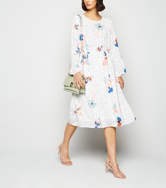 New Look JDY Spot Floral Long Sleeve Midi Dress