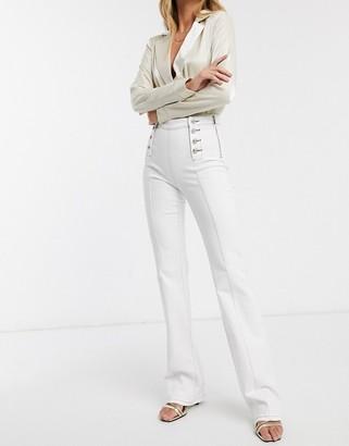Morgan military button jean in white