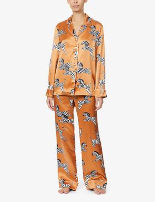 Olivia von Halle Lila zebra-print silk-satin pyjama set