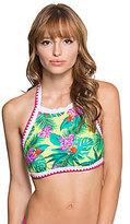 Betsey Johnson Tropical Escape Halter High Neck Blanket Stitch Top