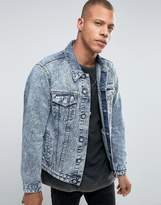 Asos Denim Jacket In Blue Acid Wash