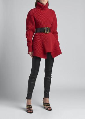 Alexander McQueen Chunky Rib Knit Peplum Sweater