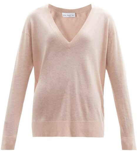 Raey V Neck Fine Knit Cashmere Sweater - Womens - Nude